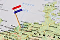 Netherlands flag on map Royalty Free Stock Photo
