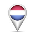 Netherlands flag map pointer with shadow. Vector illustration Royalty Free Stock Photo
