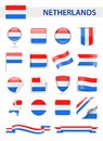 Netherlands Flag Vector Set Royalty Free Stock Photo