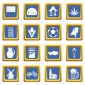 Netherlands icons set blue