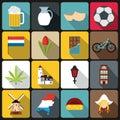 Netherlands icons set, flat style Royalty Free Stock Photo