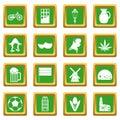 Netherlands icons set green