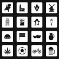 Netherlands icons set, simple style Royalty Free Stock Photo
