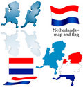 Netherlands - map and flag set Royalty Free Stock Photo