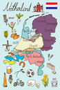 Netherlands Map and Icon Doodle Vector Royalty Free Stock Photo