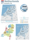 Netherlands maps with markers set of the political and symbols for infographic Royalty Free Stock Image