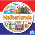 Netherlands round background. Vector colored flat icons and symbols set