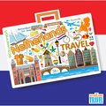 Netherlands travel. Set vector icons and symbols in form of suitcase Royalty Free Stock Photo
