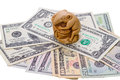 Netsuke rat and us dollar bills japanese symbolizes wealth prosperity well being Royalty Free Stock Photography