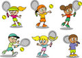 Nette Tennis Kinder Stockbilder