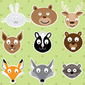 Netter forest animals illustrations satz Lizenzfreie Stockfotos