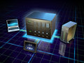 Network attached storage various devices connected to a digital illustration Stock Image