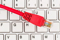 Network cable on keyboard symbol photo for this pc e commerce global communication Stock Images