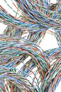 Network chaos of colorful cables Stock Image