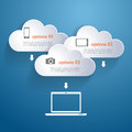 Network clouds with infographic elements and icons vector Royalty Free Stock Photography