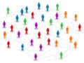 Network in colors networt concept different color community population men and women linked together Stock Photos