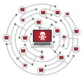 Network threat concept isolated on white background