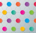 Network connection concept blank colorful paper circles connected with dashed lines pattern Stock Images