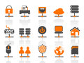 Network connection icons set Stock Image