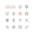 Network Data - modern vector single thin line icons set
