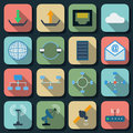 Network flat vector icons Stock Photography