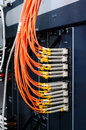 Network hardware concept focus on fiber optic cables data Stock Photography