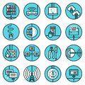 Network icons set blue line Royalty Free Stock Photo