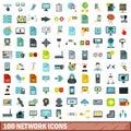 100 network icons set, flat style