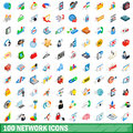 100 network icons set, isometric 3d style