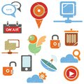 Network icons social media icons and set grunge vintage style Stock Photo