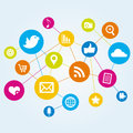 Network of online media icons a social and file sharing Stock Photography