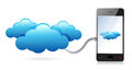 Network phone connecting with clouds illustration design over white Royalty Free Stock Image