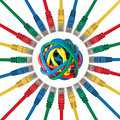 Network plugs pointing to a ball of colored cables Stock Photos