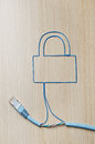 Network security blue ethernet cable shaping a padlock Stock Photography