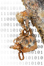 Network security rusted padlock against blurred surface outdated and antivirus software metaphor Royalty Free Stock Photography