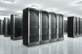 Network servers in datacenter modern and communication concept server room Stock Photography