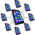 Network of Smart Phones with Apps Stock Photos