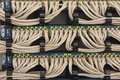 Network UTP cables connected to the routers Royalty Free Stock Photo