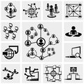 Network vector icons set on gray grey background eps file available Royalty Free Stock Photo