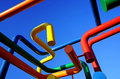 Networking concept colored pipes network blue sky background Royalty Free Stock Photography