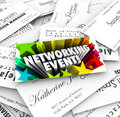 Networking event business cards mixer contacts meeting words on a card on a stack of collected at a seminar conference or Royalty Free Stock Photos