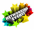 Networking event stars words invitation meeting business minglin in d and colorful as for you to attend a conference mixer seminar Royalty Free Stock Photography