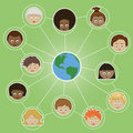 Networking kids around the world Stock Image