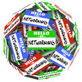 Networking name tag sticker ball sphere meet greet new opportuni hello i am nametags and stickers in a or to illustrate the value Royalty Free Stock Photography