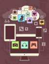 Networks conceptual picture of connection between gadgets icons cloud vector illustration retro primitive style Royalty Free Stock Images