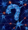 Neurology questions medical concept with active human neurons shaped as a question mark as a metaphor for scientific research into Stock Photography