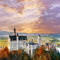 Neuschwanstein, beautiful fairytale castle near Munich in Germany Royalty Free Stock Photo