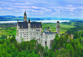 Neuschwanstein castle in the bavarian alps Royalty Free Stock Photo