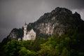 Neuschwanstein, Lovely Autumn Landscape Panorama Picture of the fairy tale castle near Munich in Bavaria,
