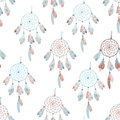 Neutral dream catcher seamless vector print